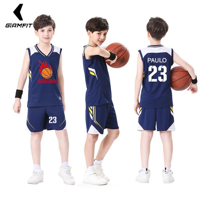 a94a78976c1 Kids Basketball Jerseys 2019 Basketball Uniforms Child Sports Clothes Custom  Logo Basketball Jersey Sets Breathable Sportswear