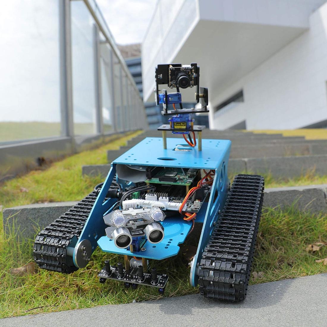 Robot à monter soi-même pour Raspberry Pi Tank intelligent robot WiFi sans fil vidéo programme électronique jouet enfants adultes Compatible pour RPI 3B/3B +