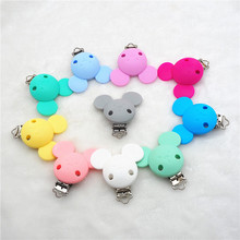 Купить с кэшбэком Chenkai 10PCS Silicone Mickey ClipsPacifier Dummy Teether Chain Holder Clips DIY Baby Mouse Animal Nursing Teething Toy Clip
