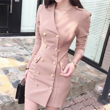 New Autumn Women Empire Sheath Blazer Dress Sexy V Neck Double-Breasted Long Sleeve Pencil Dress Solid Bodcyon Work Dresses цена