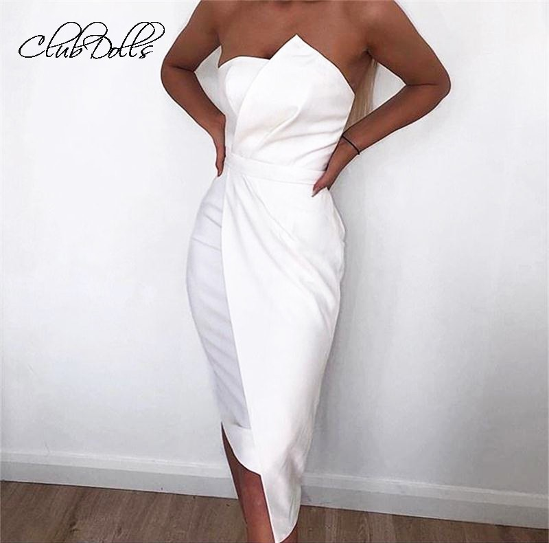 Clubdolls Ruched Off Shoulder Sleeveless Bandage Cocktail Dresses Wrapped Chest  Summer Women Dress Party Vestido De Festa Curto(China)
