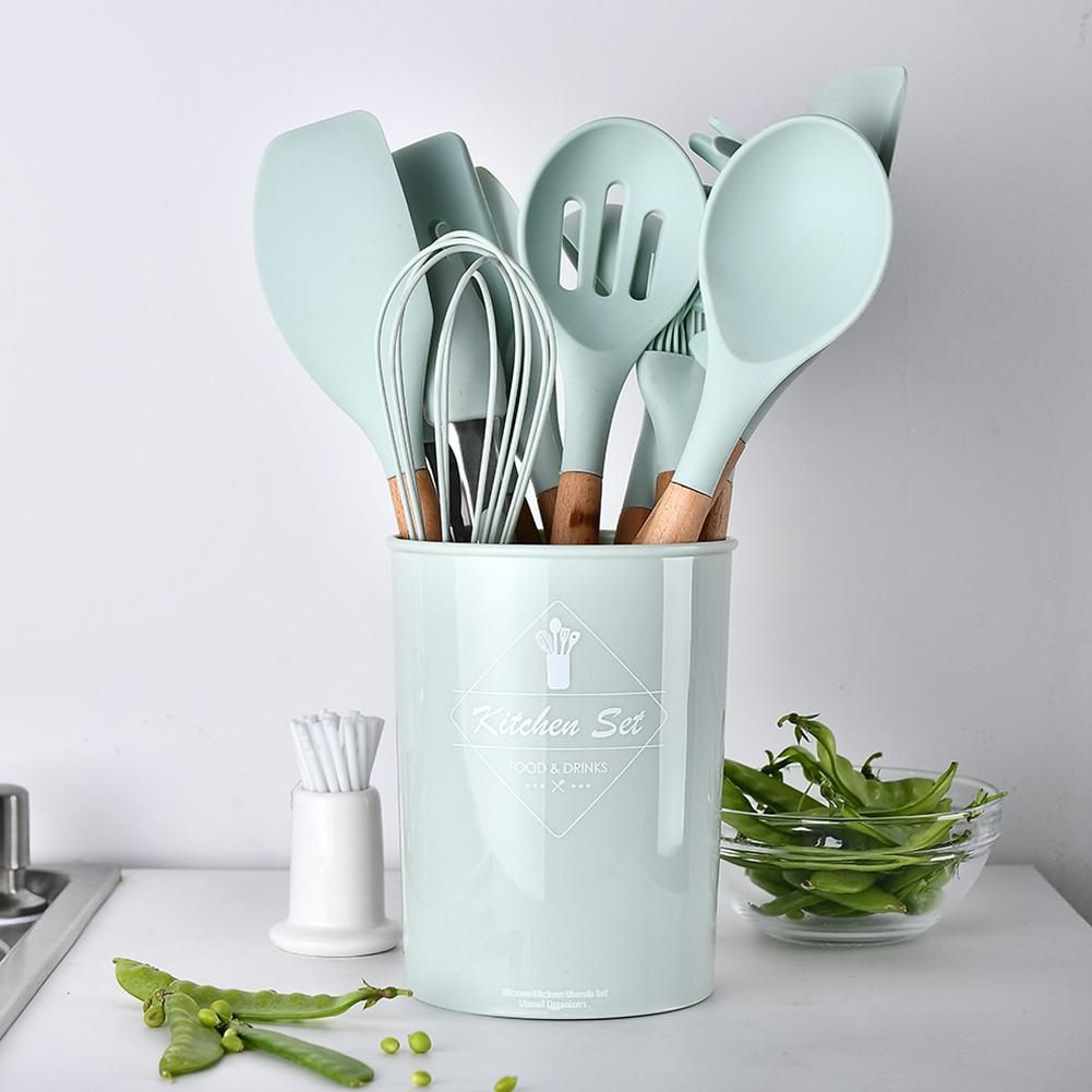 11pcs Silicone Kitchenware Set With Wooden Handle Non