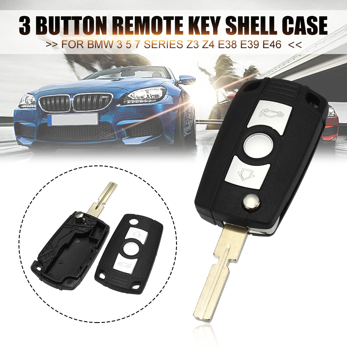 Qty 3 Color Silicone Key Fob Key Covers Key Case Skin fit for BMW Mini Cooper