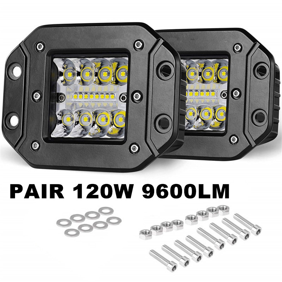 1 Pair Flush Mount Spot Flood Led Light Pods 5In 120W 9600LM For SUV UTE Bumper Reverse Lamps