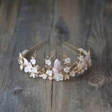 手作りゴールドブライダル冠花の葉ウェディングヘアアクセサリーティアララインストーンヘッドパーティージュエリー