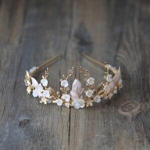 Image 1 - 手作りゴールドブライダル冠花の葉ウェディングヘアアクセサリーティアララインストーンヘッドパーティージュエリー