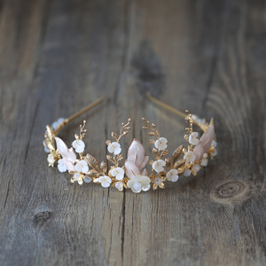 Image 1 - Handmade Gold Bridal Crowns Flower Leaves Wedding Hair Accessories Vintage Tiaras Rhinestone Headdress Headband Party Jewelry