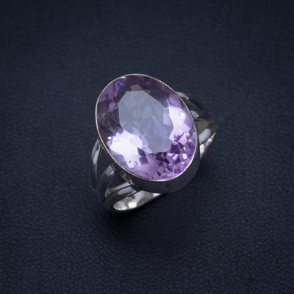 Natural Amethyst Handmade Unique 925 Sterling Silver Ring 7.25 A3998
