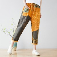 2019 Summer Contrast Color Pants Vintage Elastic Waist Print Trousers Women Loose Bleached Printed Pants