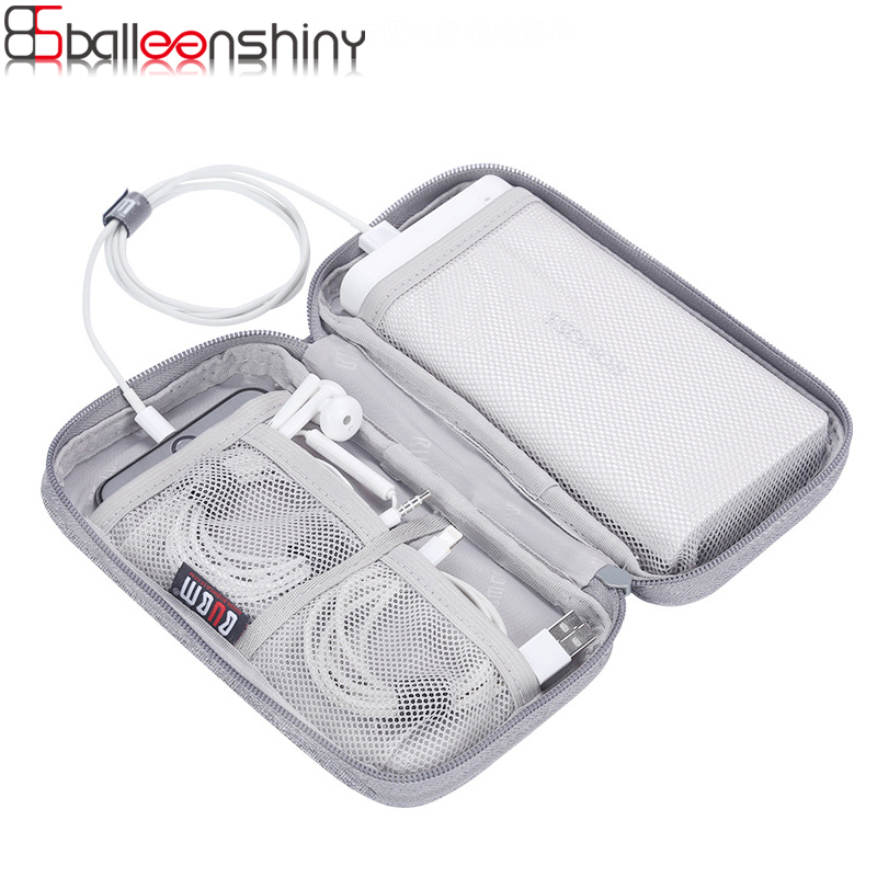 BalleenShiny Portable Power Source Storage Bag Digital Cable,Data Line Bags Earphone Pouch Outdoor Travel Organizer