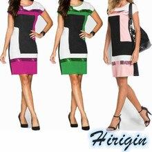 Sumemr Dresses Sexy Womens Summer Short Sleeve O-Neck High Waist Mini Dress Casual Patchwork sequined