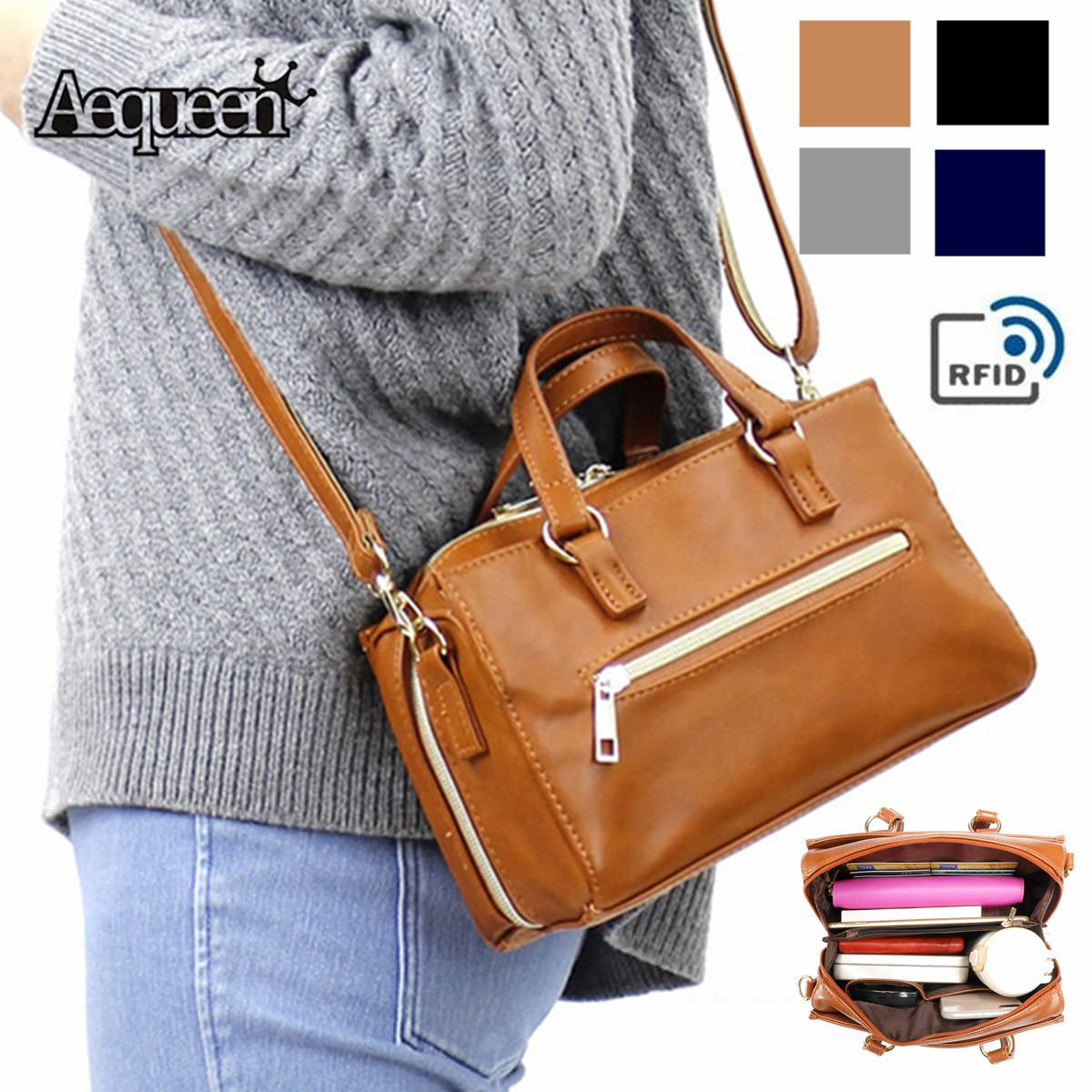 Ladies Real Leather Brown Shoulder Bag Large Casual Cross Body Organiser Satchel
