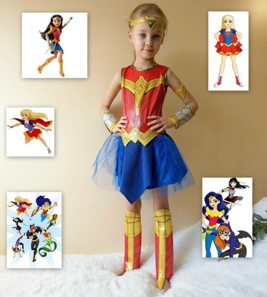 Girls Wonder Women Costume Supergirl Cosplay Costume For Child Halloween Children's Day
