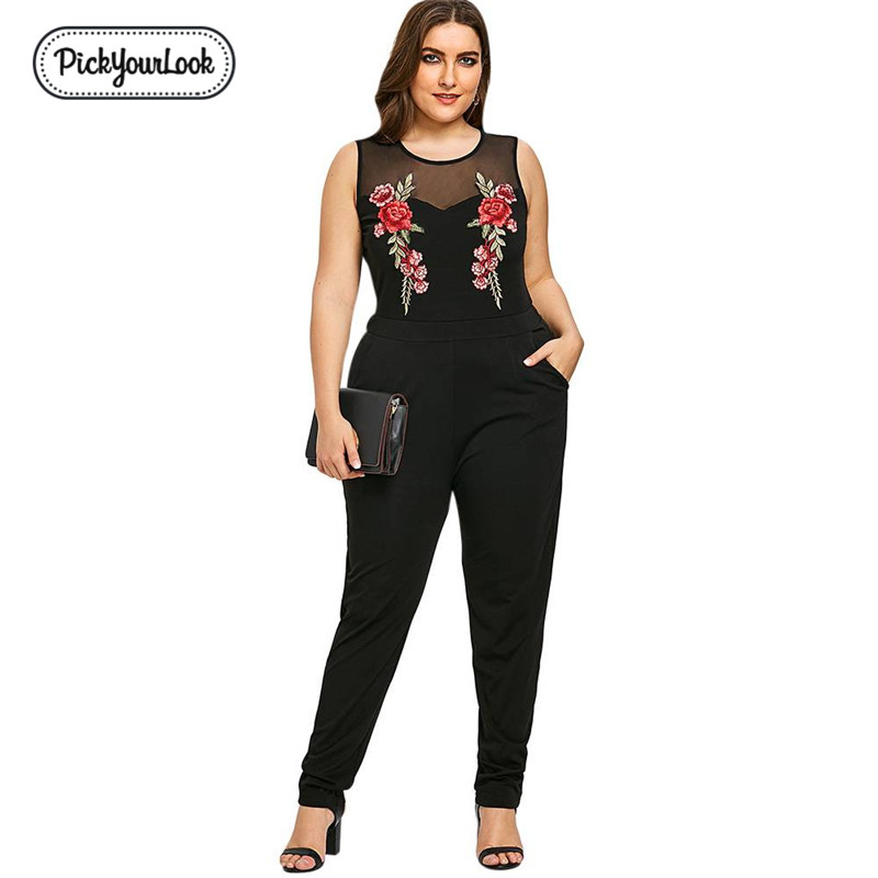 Pickyourlook Plus Size Women Playsuit Romper Sleeveless Embroidery Lady Body Bodysuit Sexy Black Translucent Female   Jumpsuit