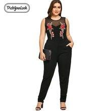 767e90bd9f2 Pickyourlook Plus Size Women Playsuit Romper Sleeveless Embroidery Lady  Body Bodysuit Sexy Black Translucent Female Jumpsuit