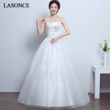 LASONCE Elegant Pleat Strapless Lace Ball Gown Wedding Dresses Off The Shoulder Crystal Backless Bridal Gowns