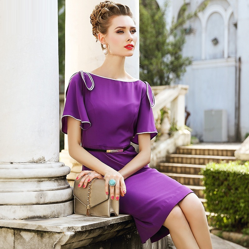 a4e2859f68f Taille Élégant Nouvelle Crayon Travail Office Printemps Robe De Vêtements  Lavender Lady D été Xxxl Femmes 2018 Robes Arc Luxe Partie Mince ...