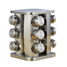 Rotary Seasoning Jar Stainless Steel Salt Pot Glass Kitchen Supplies Box box