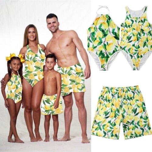 Happy Cute Family Mens Womens Sweety Kids Swimsuit Swimwear Fashion Beachwear  Monokini Bathing Suit Bikini