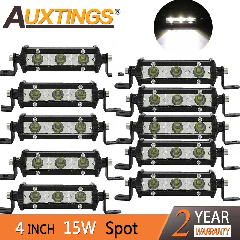 "Auxtings 4"" 4inch 15W Spot Super Mini Slim Single Row Led Light Bar Work Light Driving SUV OffRoad Bar 12V 24V for Jeep 4X4 4WD Light Bar/Work Light     - title="