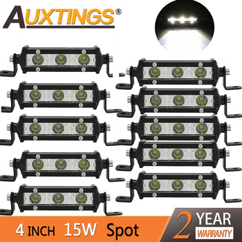 Auxtings 4 4inch 15W Spot Super Mini Slim Single Row Led Light Bar Work Light Driving SUV OffRoad Bar 12V 24V for Jeep 4X4 4WD image