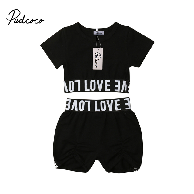 e42312589ff Valentine's Day 2019 Hot Toddler Girl Kid Child Black Crop Top Love Letter T  shirt Shorts