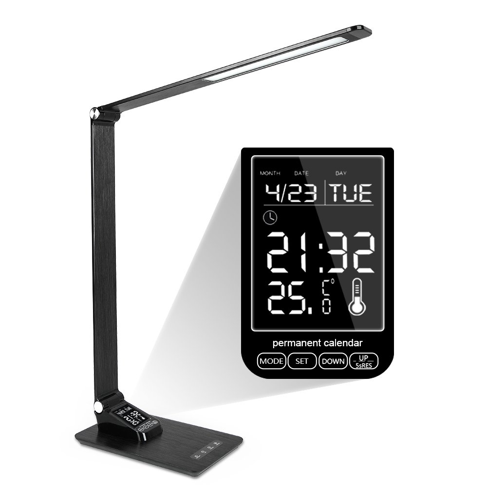 BIFI Office Lamp With Usb Charging Port Led Desk Lamp With Calender Time Alarm For Home