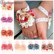 Balleenshiny новорожденный Шифоновый Цветок на голову растягивающиеся ноги группы для маленьких девочек босиком сандалии эластичные модные ноги украшения