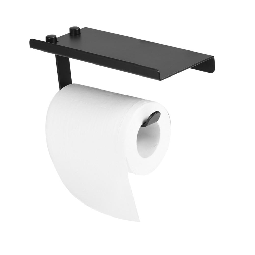 Space Aluminum Bathroom Roll Paper Holder Toilet Tissue Storage Rack Holder W/ Phone Shelf Plate Black Bathroom Accessories