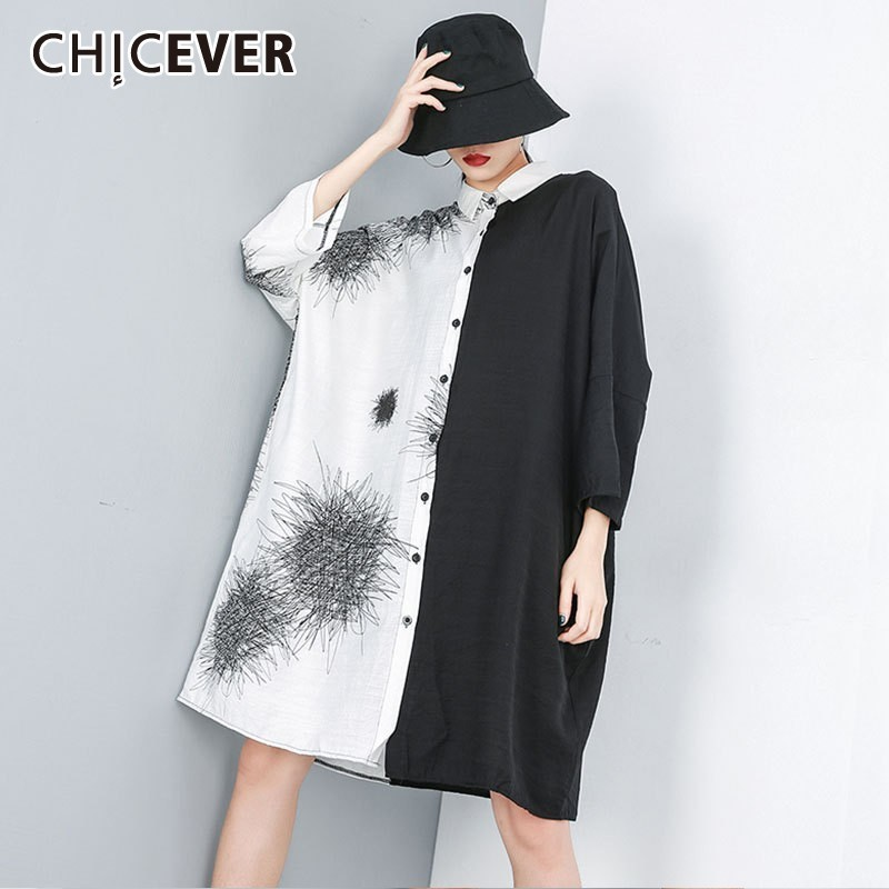 Chicever Summer Women Print Shirt Lapel Three Quarter Sleeve Button Open Stich Loose Slim Long Female Top Blouse 2019 Fashion Women's Clothing