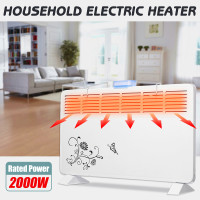 2000W 220V Electric Heater 6 Windows Heater Wall Metal Shell Stove Radiator Warmer Household Room Heating Fan Machine