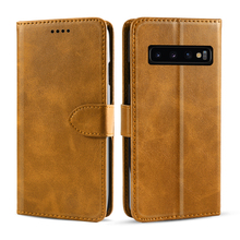 For Samsung S10 Plus S10e 5G Case Vintage PU Leather Stand Flip Wallet Phone Magnetic Buckle