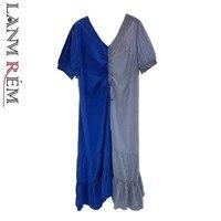 325f016847 LANMREM 2019 Summer Women S Clothes Asymmetry Stripe Drawstring Chalaza  Loose V Collar Short Sleeve Dress