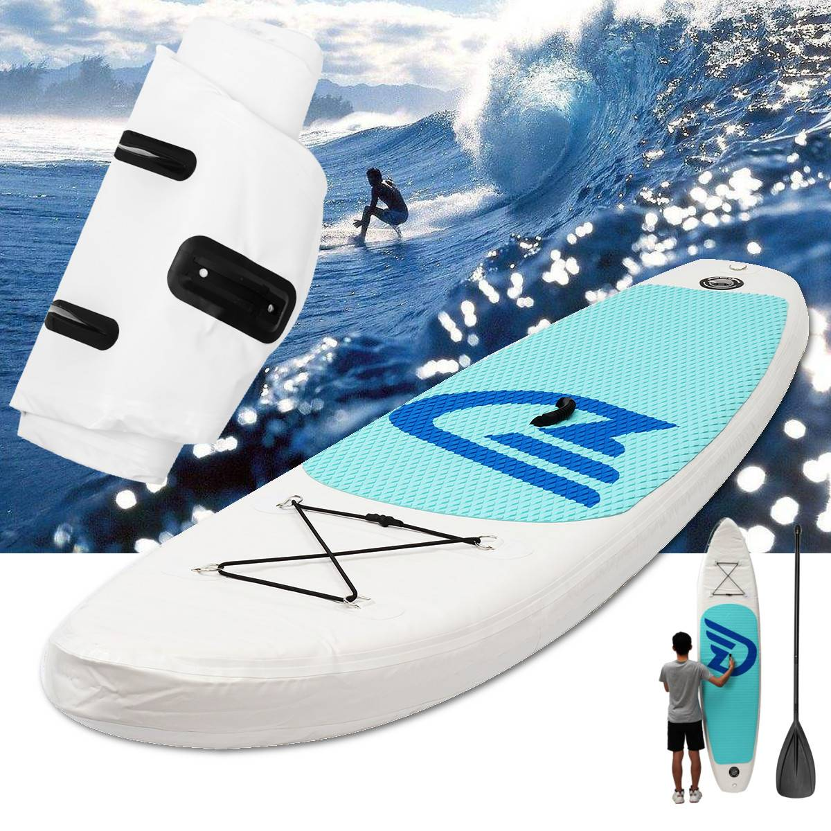 Inflatable Surfing Board 10ft Surf Paddle Board Stand Up Water Pump Foot Leash Beach Ocean Body Boarding Water Sports Supplies