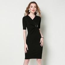 Knitted dress Spring women 2019 V-neck short-sleeved Slim sexy mini knitting dress hip package pencil dress 1903