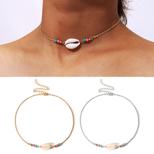 new fashion seaside bohemian shell beads necklace simple generous female handmade drop adjustable natural gold silver
