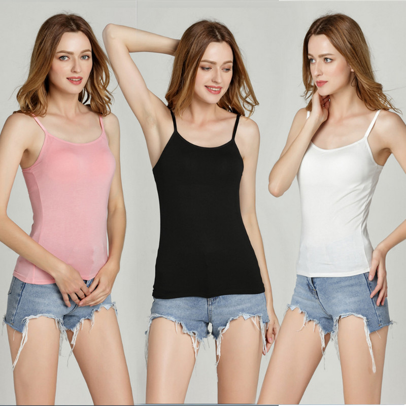 2019 Padded Bra   Tank     Top   Women Spaghetti Solid Camis   Tops   Casual Summer Vest Female Camisole With Built In Bra Fitness Clothing