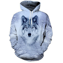 Unisex 3D Wolf Digital Printing Funny Creative Couple Hoodies Fashion Sweatshirts Casual  outerwear womens Animal hoodie