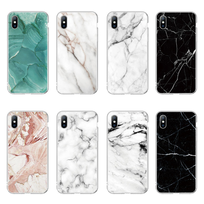 Ottwn Phone Case For IPhone X XS XR Xs Max 5 5s SE 6 6s 7 8 Plus Transparent Marble Printed