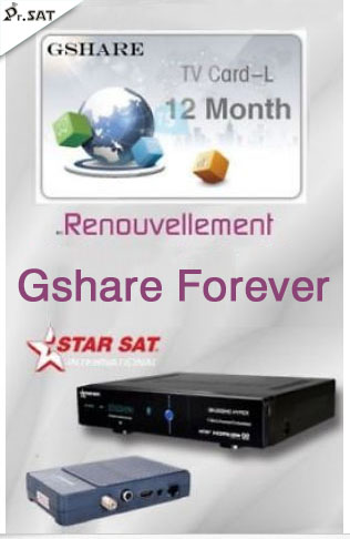 Original Gshare recharge renewal abonnement 12 mois for starsat geant tiger startrack pinacle receiver-in Set-top Boxes from Consumer Electronics