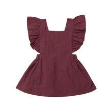 купить 6 Solid Color Baby Girl princess Dress Sleeveless Ruffle Party Dress for Newborn Baby Girl Infant Children Clothes Kid Clothing по цене 185.45 рублей