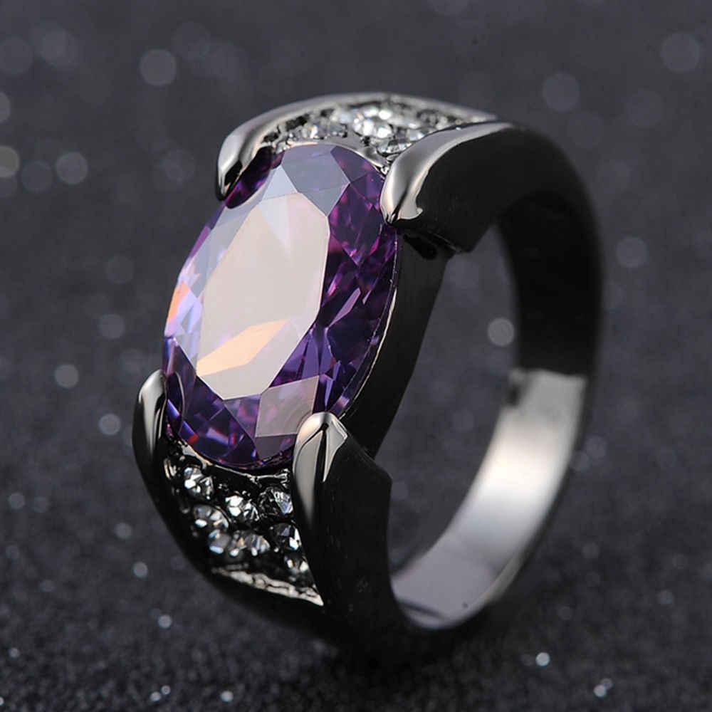 Hip-hop สีดำทองทับทิมแหวนแต่งงาน Sapphire Bizuteria สำหรับผู้หญิงผู้ชาย Unisex เพชรหยกแหวน Rock Obsidian เครื่องประดับแหวน