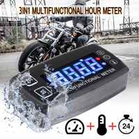 Motorcycle Tachometer 12V Digital LCD Engine Multifunction Tach Hour Meter Tachometer Thermometer Temperature Gauge Waterproof
