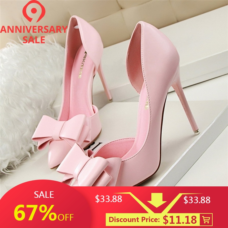 93357ea4fe6 Women Shoes High Heels Thin Pink Bow Hollow Sweet shoe Spring Elegant Pumps  High-heeled