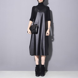 [EAM] 2019 New Spring Summer Strapless Sleeveless Black Pu Leather Loose Brief Dress Women Fashion Tide All-match JO287 5