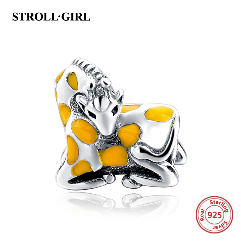Strollgirl Animal Giraffe Bead Fit European Bracelets sterling Silver 925 Charms Yellow Enamel Sterling Silver Jewelry For Gifts