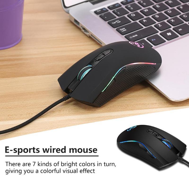 Игровая мышь USB Проводная цветная 3200 точек/дюйм 7 кнопок оптическая мышь Мыши для ПК ноутбука компьютера профессиональных игроков