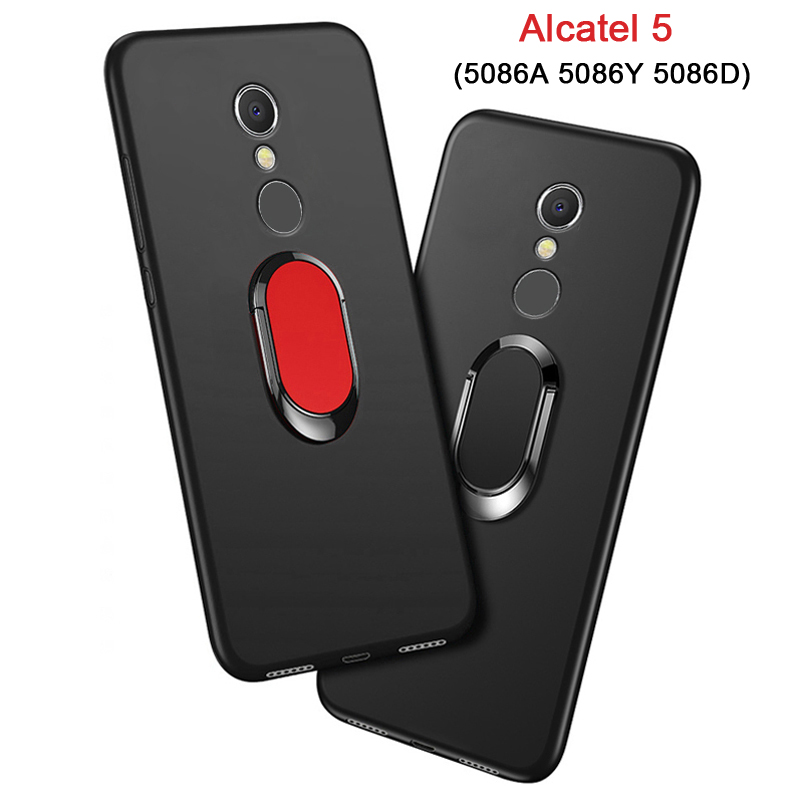 Cover for <font><b>Alcatel</b></font> <font><b>5</b></font> 5086A <font><b>5086Y</b></font> 5086D Case luxury <font><b>5</b></font>.7 inch Soft Black Silicone Magnetic Car Holder Ring Funda for <font><b>Alcatel</b></font> <font><b>5</b></font> Case image