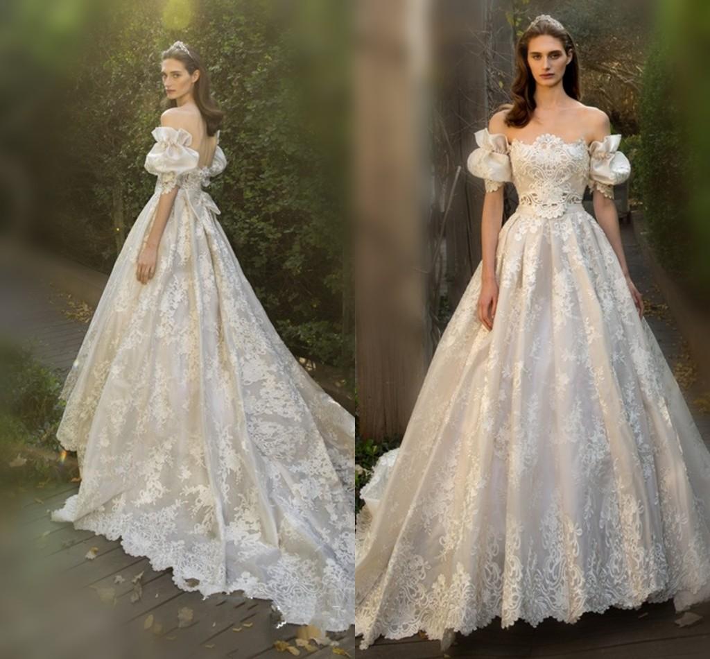 Fairy Lace Wedding Dresses 2018 Off Shoulder Juliet Short