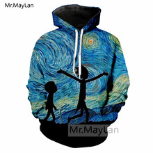 Oil Painting Van Gogh Ricky and Morty 3D Print Jacket Men/women Anime Hipster Streetwear Sweatshirts Hoodie Boys Blue Tracksuits